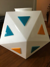BURGER CHEF Icosahedron Lamp Shade White Milk Glass 1960 Resturant Furniture