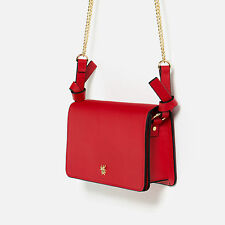 ZARA NEW RED METALLIC DETAIL FAUX LEATHER CROSSBODY MESSANGER  BEE BUG BAG