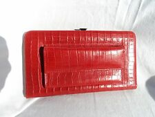 Scully 728 Red Italian Leather Alligator Grain Women's Framed Clutch Wallet