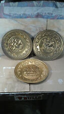 LOT (3) Vintage ELPEC made England Hammered Brass Wall Hanging, Plaques Plates