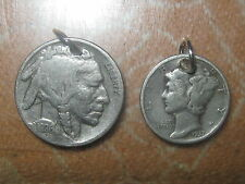 VINTAGE ANTIQUE LOT OF MERCURY DIME + BUFFALO NICKEL CHARMS PENDANT NECKLACES
