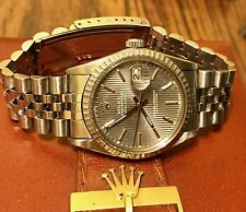 Rolex Datejust 16014 S/Steel Gray Tapestry Dial Watch Quickset MOV 3035 6M 1980