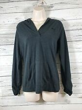 PUMA Ruched Long Sleeve Hooded Tee Pullover Top Kangaroo Pouch Gray Womens SZ M