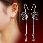 Women Fashion Silver Plated Jewelry Butterfly Dangle Ear Wire Earrings Top
