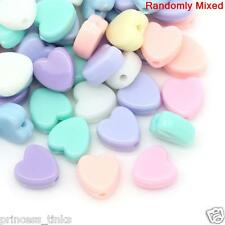 50 x Mixed Pastel Heart Beads ~ 8mm