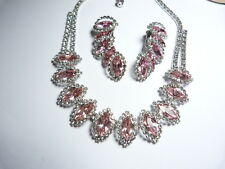 Vintage signed Weiss pink clear prong set rhinestone necklace earring set