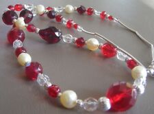 Red Czech Glass Handmade Beaded Necklace with Soft Yellow Freshwater Pearls