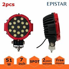 2X 51w LED Work Light SPOT RED Round Off-road fog Driving 4WD Boat UTE ATV JEEP