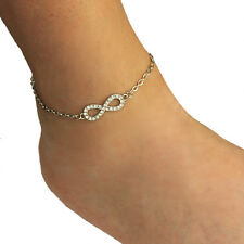 Oval Chain Silver Tone Rhinestone Infinity Charm Anklet Ankle Bracelet