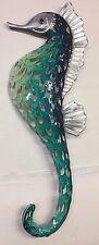 Marine Blue, Sea Green & Silver Metal Seahorse Sculpture Wall Art 6455