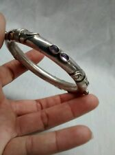 Pretyy vintage Bali Indonesia  sterling 925 amethyst cabochon bangle bracelet