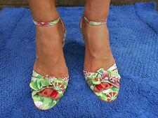 NEXT ladies women green floral summer shoes heels wedges peep toe size 6 strappy