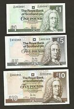 Scotland £1/£5 /£10 Pounds  Banknotes Set Uncirculated