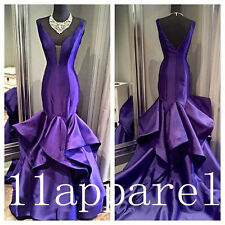 Unique Design Purple Prom Dresses Mermaid Satin Evening Party Bridal dress
