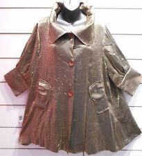 Jacket XL Coterie Metallic Bronze High Collar A Shape Button Top $1038 NWT BV471