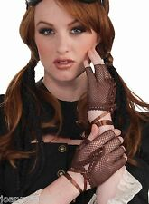 New Womens Ladies Steampunk Brown Fingerless Gloves Gothic Fancy Dress Accessory