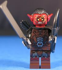 LEGO® LORD OF THE RINGS™ URUK HAI BOWMAN Custom Minifigure +Dk Red POINTED EARS