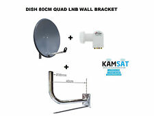 SATELLITE DISH ANTENNA 80cm CORAB GRAPHITE HDTV QUAD LNB 0,1db WALL BRACKET 400M