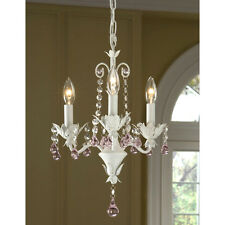 ITALY PETITE CRYSTAL GIRLS Antique SHABY White finish Chandelier-Plugin Option