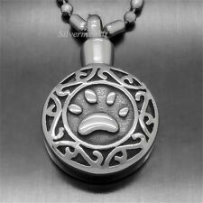 Dog Paw Pet Love Cremation Keepsake Memorial Urn 316L Pendant With Necklace P046