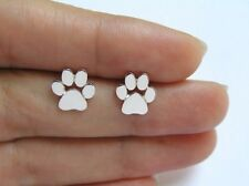 FREE GIFT BAG 925 Silver Plated Cute Cat Dog Paw Print Stud Earrings Birthday