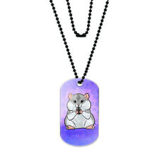 Dwarf Hamster with Sunflower Seed Acrylic Dog Tag with Black Ball Chain