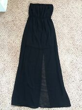WOMENS BLACK STRAPLESS SIDE SLIT MAXI DRESS SZ SMALL