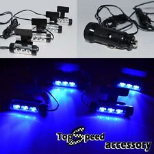 4pc Blue LED Car Charge 12V Glow Interior Floor Decorative Atmosphere Light