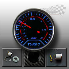 "BOOST TURBO GAUGE SMOKED DIALS FACE 52mm 2"" (Bar) BLUE LED INTERIOR DASH SPEEDO"