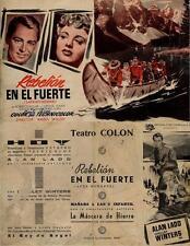 Año 1954. Programa de CINE. Título película: Rebelión en el Fuerte.