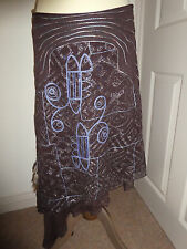 MUNTHE PLUS SIMONSEN Copenhagen Brown & Blue Long Skirt Feather & Bead Detail 36