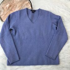 Ann Taylor V Neck 100% Cashmere Cable Knit Sweater Blue