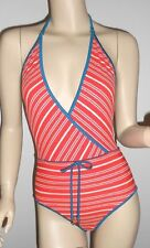MARC BY MARC JACOBS *NWT* TARA STRIPED DEEP V NECK 1 PIECE SWIMSUIT~SMALL