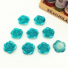 New 40pcs Resin Rose Flower 12mm Flatback Scrapbooking DIY Phone Craft Turquoise