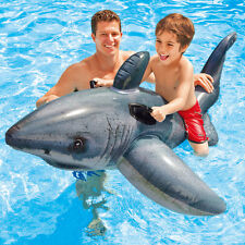 """Intex 68"""" x 48"""" Great Shark Swimming Pool Ride On Inflatable Float"""