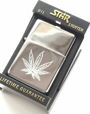 Personalised Cannabis Leaf Star Silver Petrol Lighter (T32)