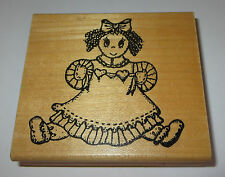 "Rag Doll Rubber Stamp Curly Hair Bow Hearts Dress Shoes 3.5"" Long Toys Kids Love"