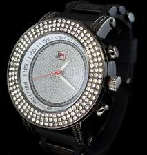 55mm Big Face AAA Cz Gun Metal Silicone Band Bling Fashion Wrist Watch