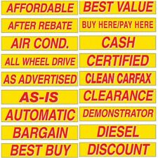"Car Dealer Windshield Stickers Slogans Red and Yellow 5 packs 15"" Mix and Match"