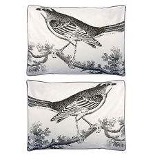 Thomas Paul Ornithology Standard Sham Set (2) 100% Cotton Sateen Gray Birds