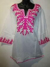 Top 2X Plus Long Tunic White and Pink Geo Design Light Cotton Kurta NWT 4025