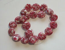 Mother of Pearl (MOP) shell with resin 18mm round Beads Strawberry with shells