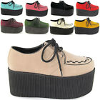 "NEW WOMENS HIGH PLATFORM LADIES TRENDY RETRO FLAT TRIPLE CREEPER 3"" SHOES SIZE"