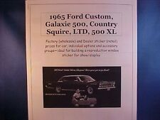 1965 Ford Galaxie/LTD factory cost/dealer sticker prices for car + options $$