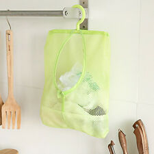 Bathroom Kitchen Hanging Storage Clothespin Mesh Bag Organizer Hanging Hook MO
