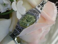 1926 Ladies Art Deco Asymmetrical Bulova Watch ~ Sapphire Filigree Band ~ Runs