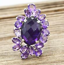 Large 9.81ctw Genuine Cambodian AAA Amethyst Sterling Silver Cocktail Ring