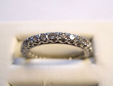 VINTAGE 18K ETERNITY BAND WHITE GOLD SINGLE CUT DIAMOND RING .5 ctw SZ 7