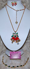BETSEY JOHNSON GORGEOUS 3 PC CHRISTMAS BELL NECKLACE EARRINGS & BRACELET NEW