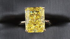14K Yellow Gold 8.20 CT FANCY YELLOW  RADIANT CUT VVS1  Wedding Engagement Ring